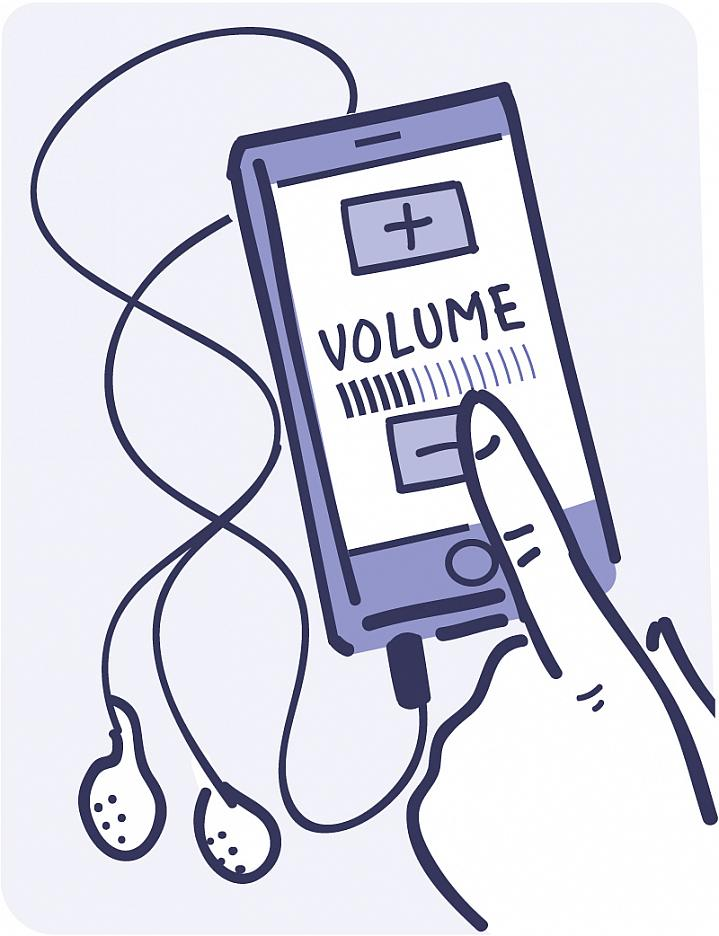 Illustration of a finger turning down the volume on an audio player with ear buds.