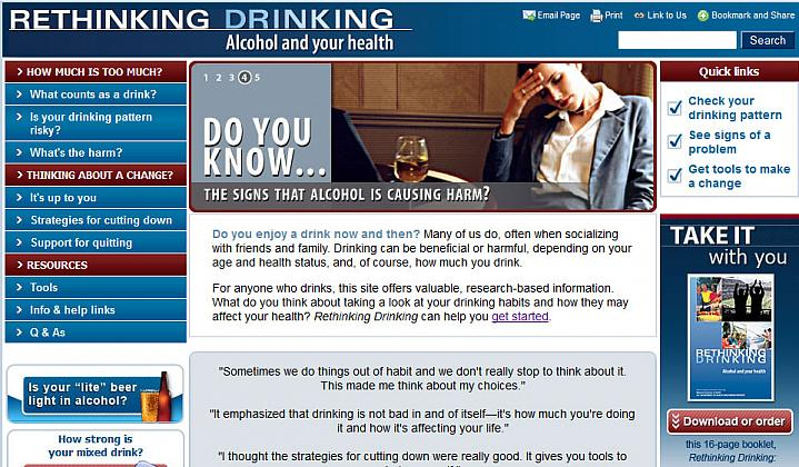 Screen capture of the homepage for the Rethinking Drinking website.