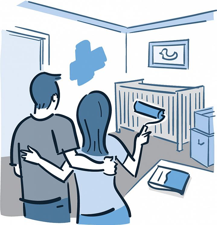 Illustration of a man and woman painting the walls of a nursery room.