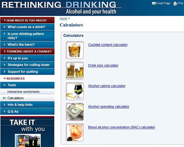 Screen capture of NIH's Alcohol Calculators webpage.