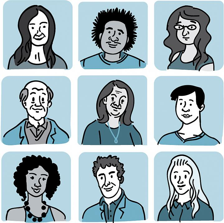 Illustration of 9 men and women of differing ages and ethnicities.