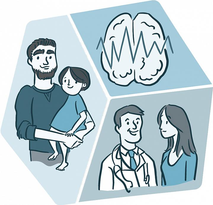 Illustration of a man holding a child; a doctor and patient; and a brain.