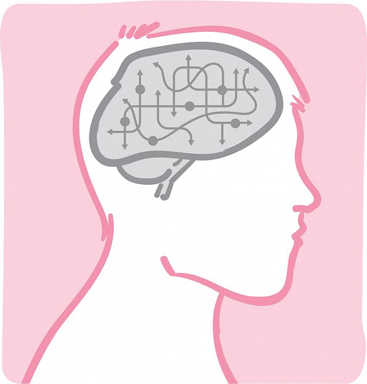 Illustration of circuits and arrows inside a man's brain.