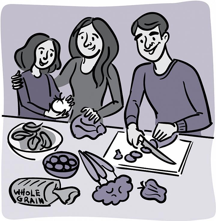 Illustration of a family making a healthy salad.