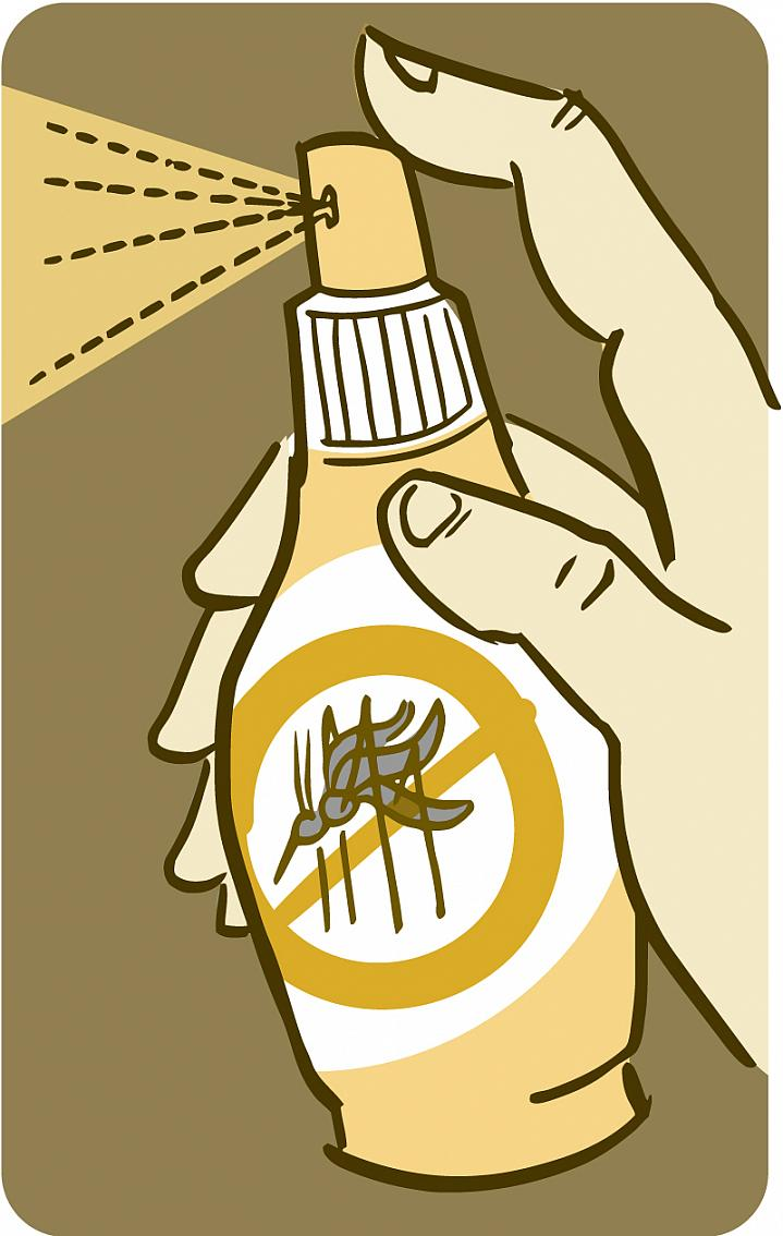 Illustration of a spray-bottle of mosquito repellent.
