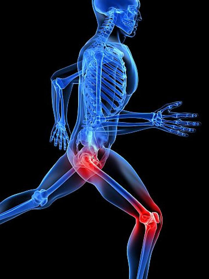 3D illustration of a running skeleton with highlighted joints.