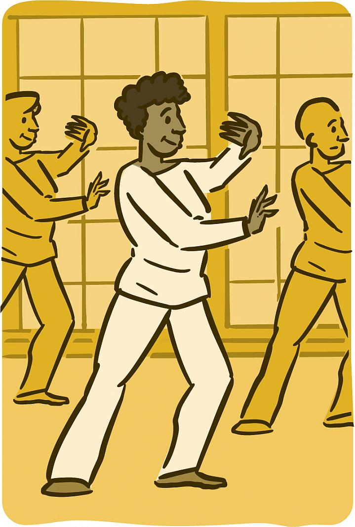 Illustration of older adults practicing tai chi.