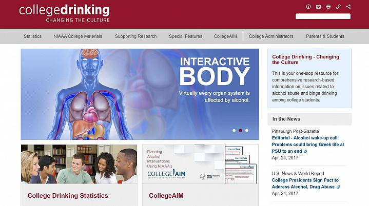 Screen capture of NIH's College Drinking: Changing the Culture web page.