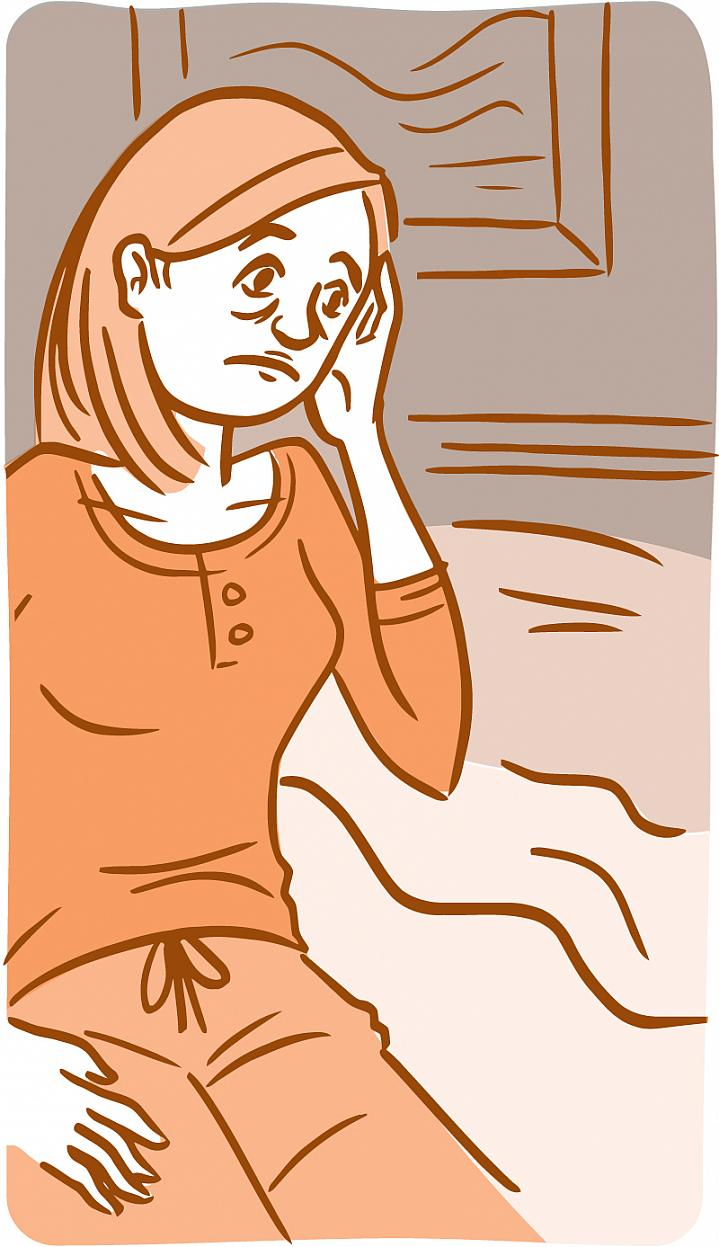Illustration of a tired and unhappy-looking woman touching her temples.