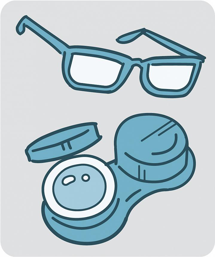 Eyeglasses and contact lenses in a case.