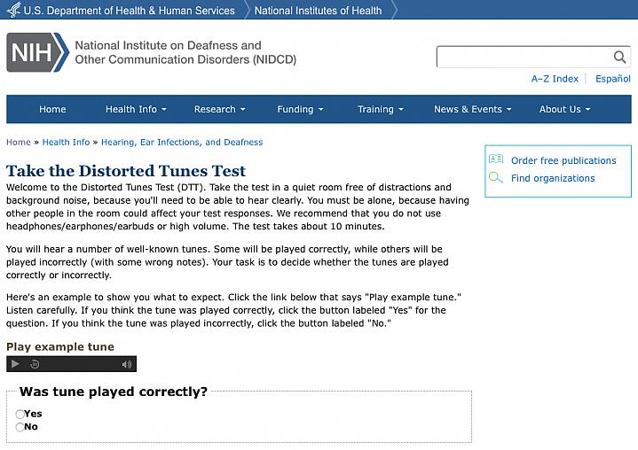 Screen capture of the Test Your Sense of Pitch tool.