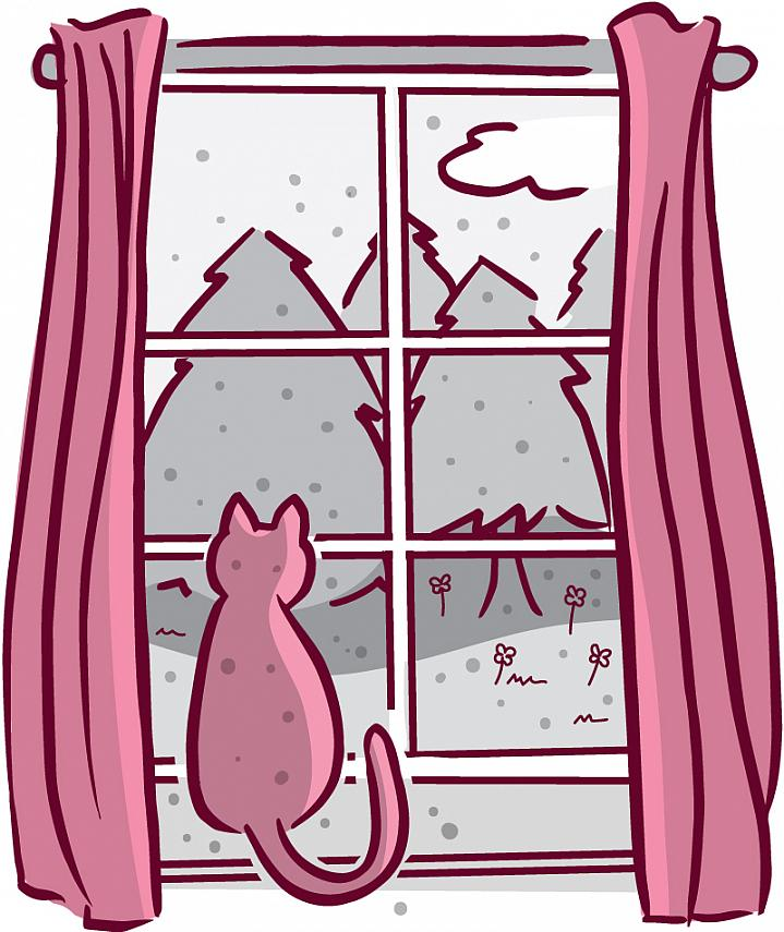 Illustration of cat sitting on a windowsill looking out at trees, flowers, and specks of pollen.