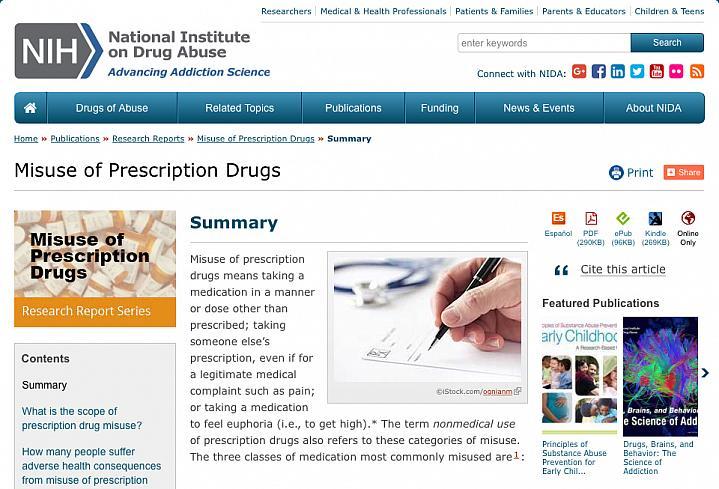 Screen capture of the homepage for NIDA's Prescription Drug Abuse information.