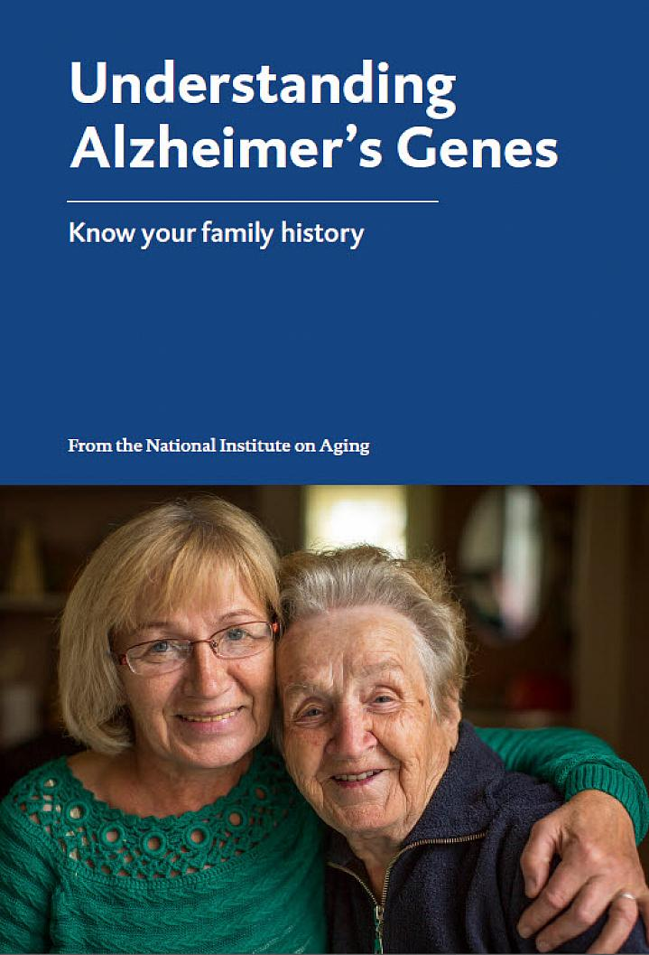 Booklet cover page shows an older woman embracing her elderly mother.
