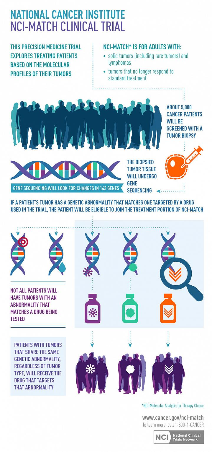 An infographic summarizing a precision medicine trial that explores treating cancer patients based on the molecular profiles of their tumors.