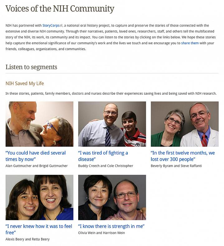 Screen capture of the web page for Voices of the NIH Community.