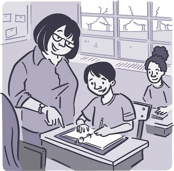 Illustration of a teacher helping young students in a classroom.