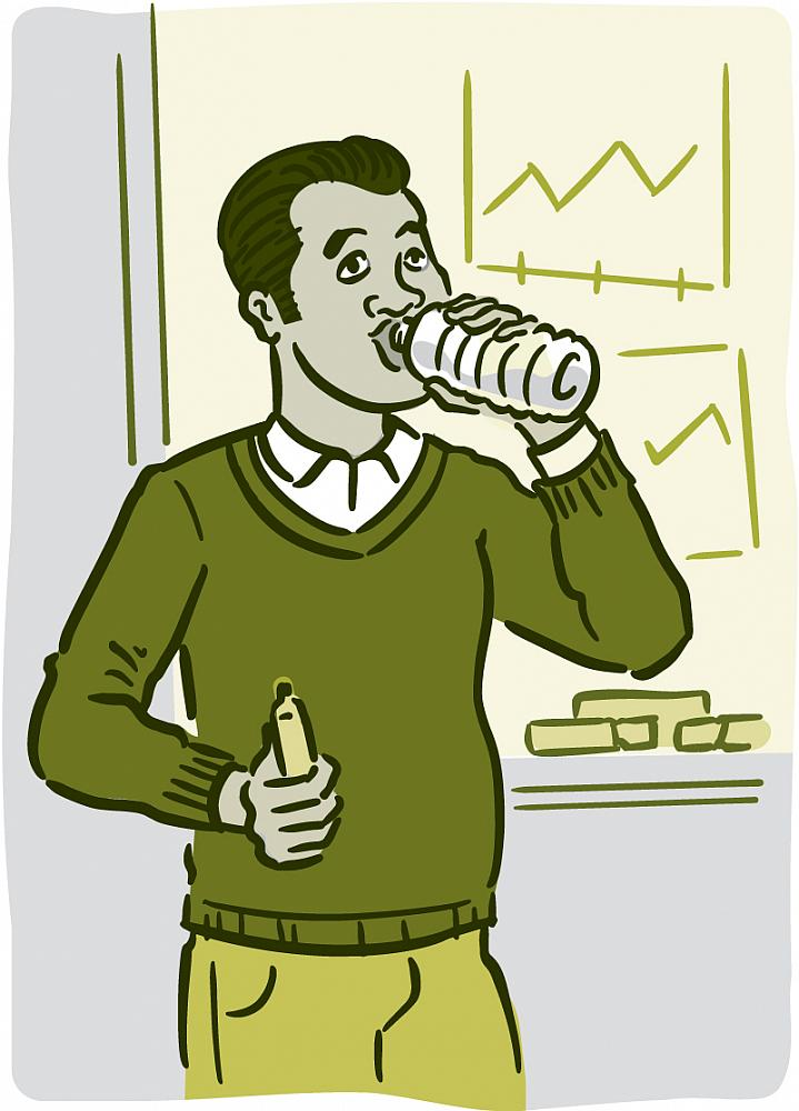 Illustration of a man drinking water.