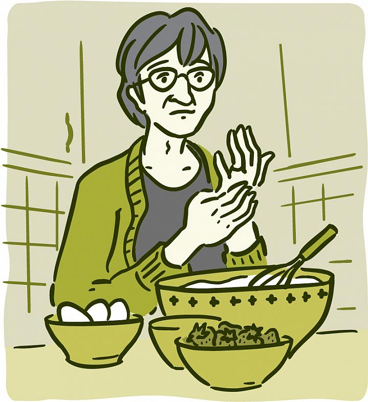 Illustration of a woman trying to bake with pain in her hands.