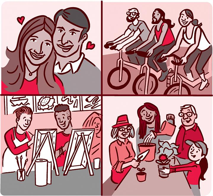 Collage illustration of people engaged in various social engagements