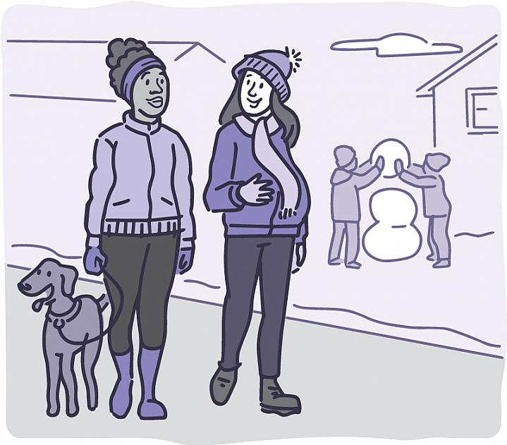 Illustration of a pregnant woman walking with a friend through a snowy neighborhood.