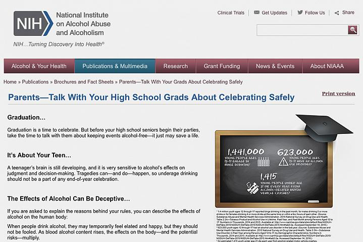"""Screenshot the NIH factsheet """"Parents—Talk With Your High School Grads About Celebrating Safely""""."""