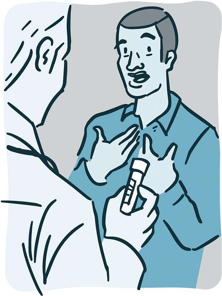 Illustration of a doctor holding a vial of blood while talking with a patient.