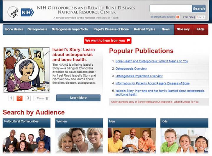 Screen capture of NIH's Bone Health Resources website.