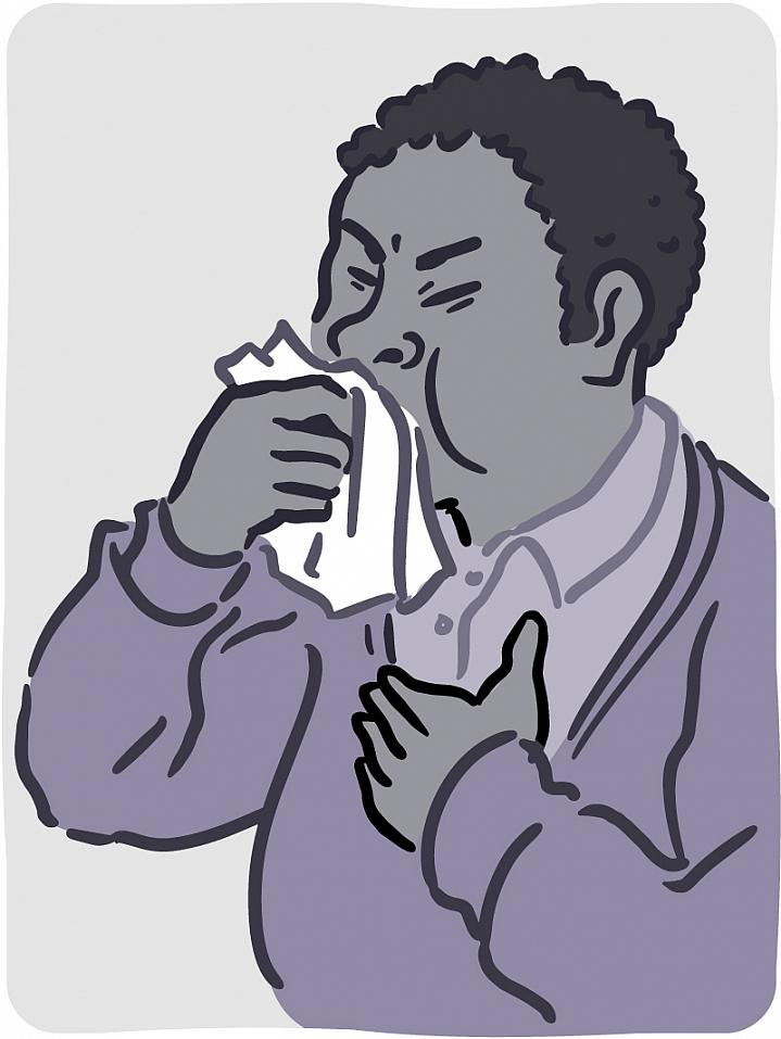 Illustration of man coughing into a tissue.