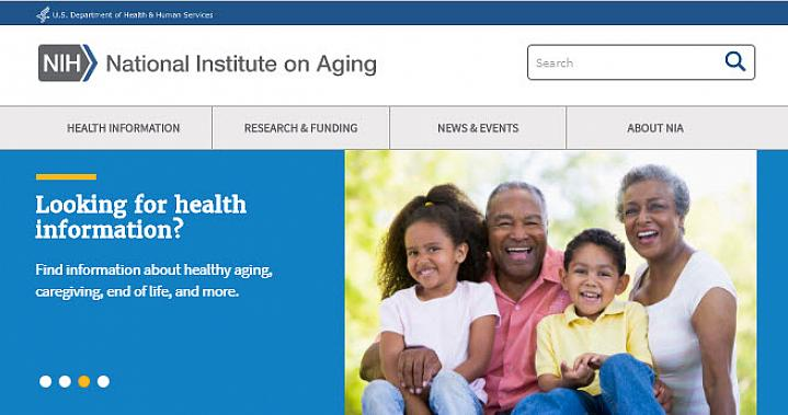 Screenshot of the aging information website.