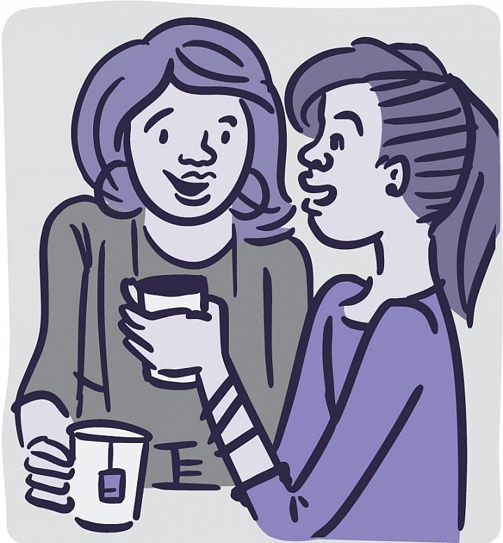 Illustration of peers talking over coffee