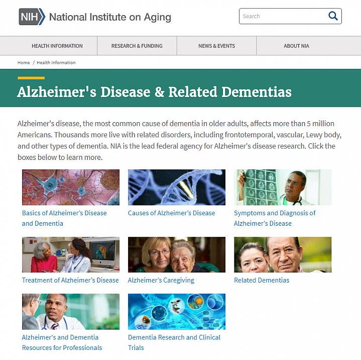 Screenshot of Alzheimer's resources webpage