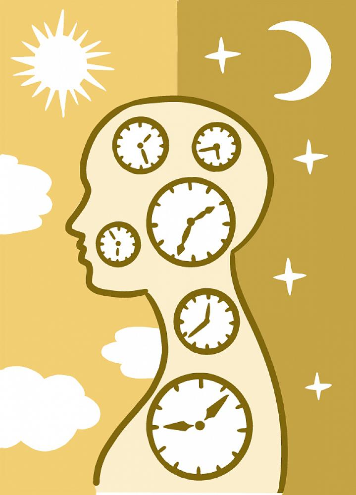 Illustration of a human silhouette filled with clocks