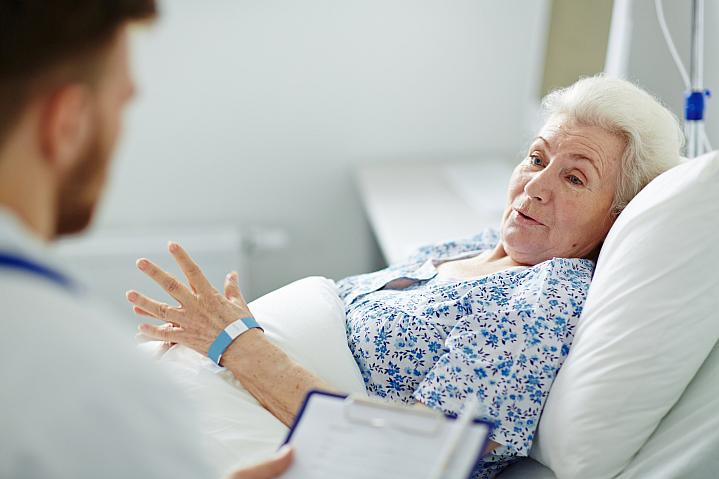 Older woman in a hospital bed