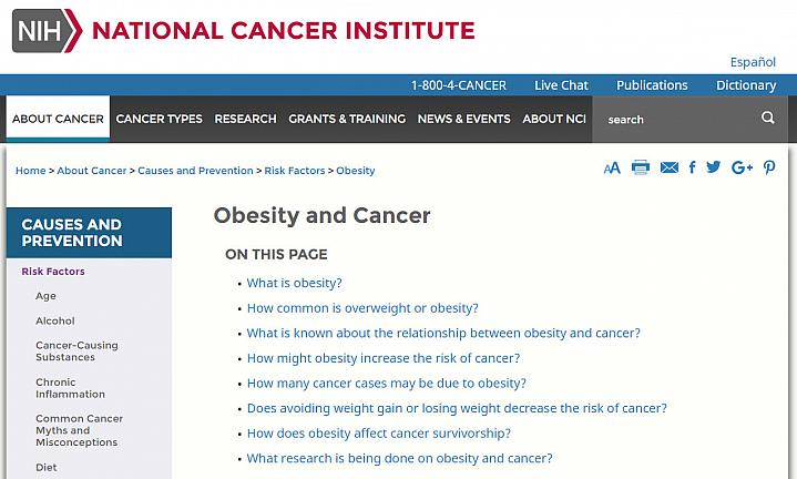 Screenshot of NCI obesity and cancer web page