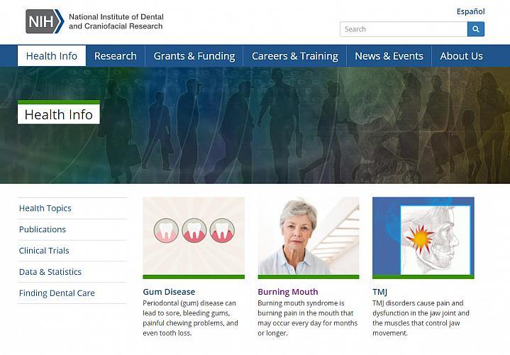 Screenshot of the NIDCR website