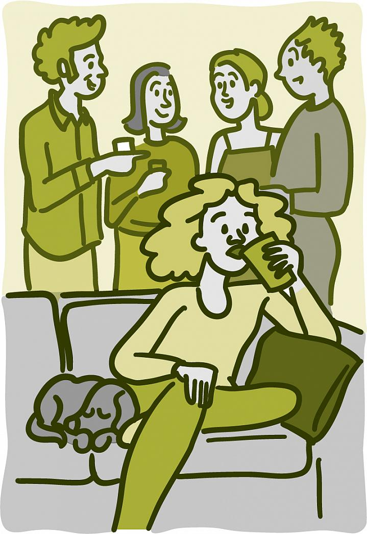 Illustration of a woman sitting on the couch with a dog at a party