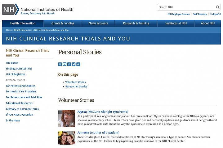Screenshot of the personal stories website