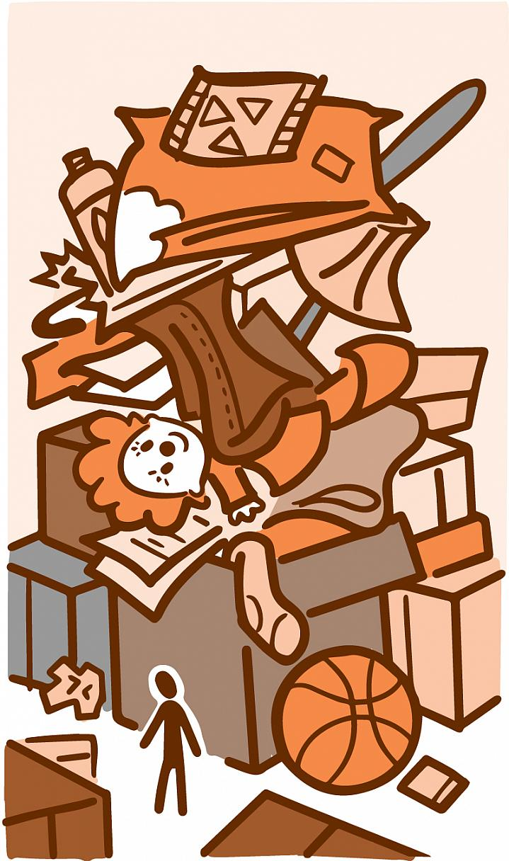 Illustration of person looking at an overstuffed box