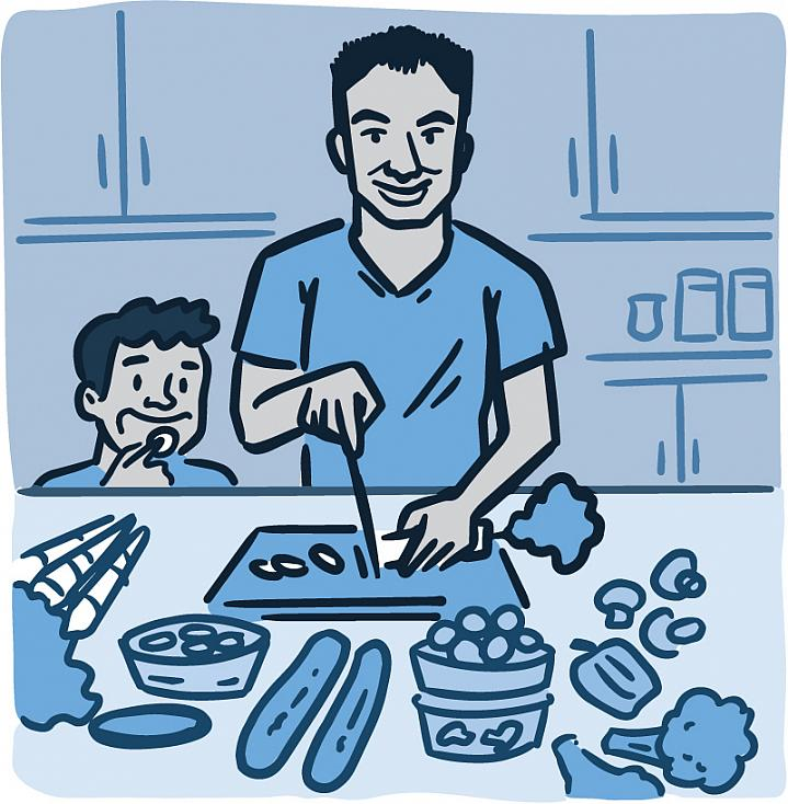 Illustration of a parent and child preparing a healthy meal together