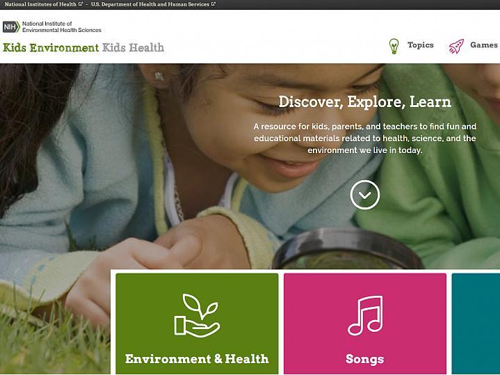 Screenshot of the Kids Environment Kids Health web page