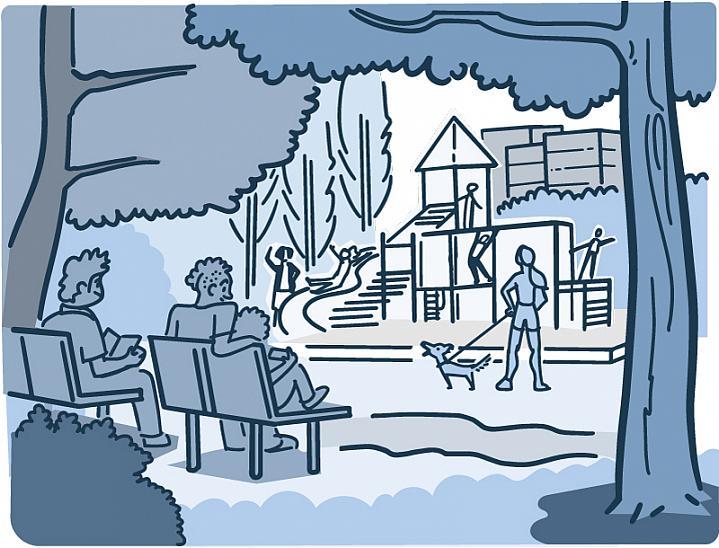 Illustration of people enjoying a neighborhood park