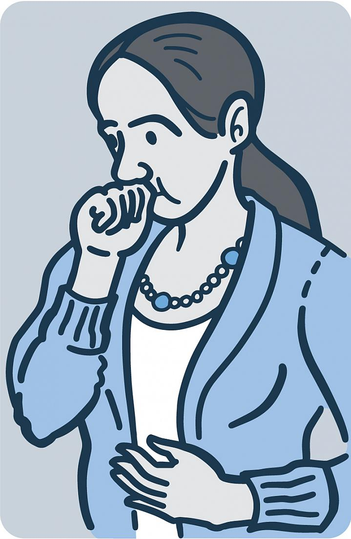 Illustration of a woman with heartburn