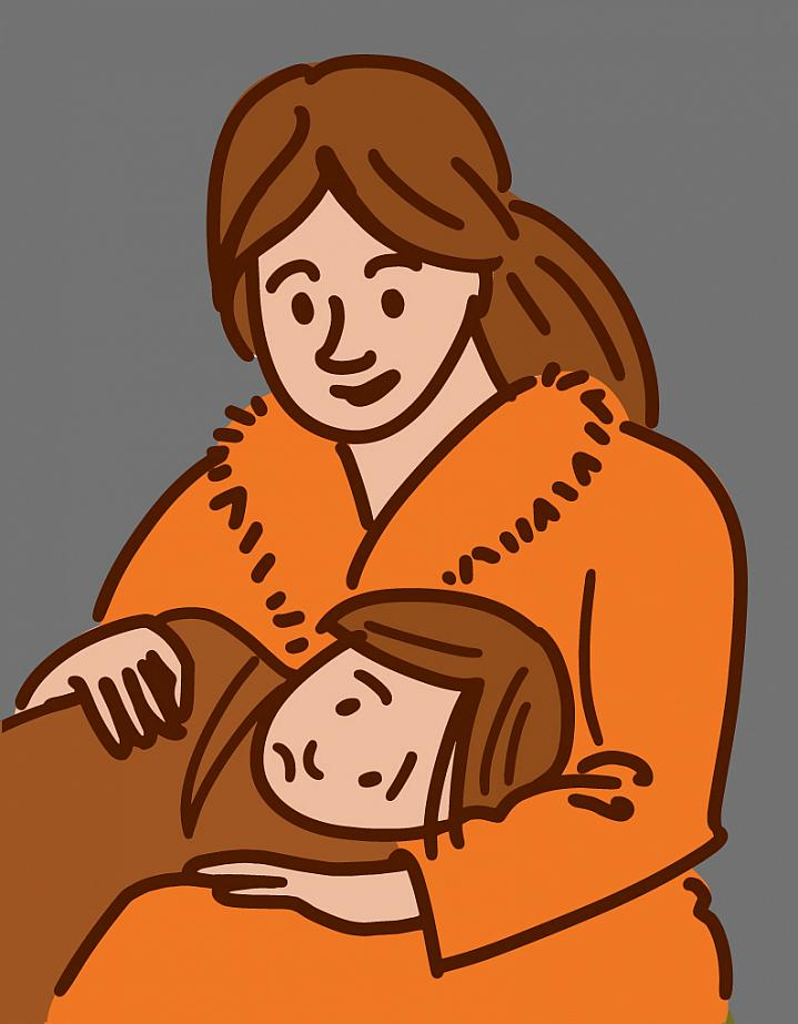 Illustration of a woman holding a child with an ear infection