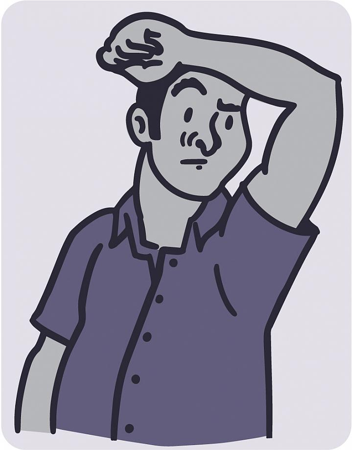 Illustration of a man smelling his armpit