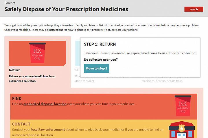 Screenshot of the Safe Disposal of Your Prescription Medicine website