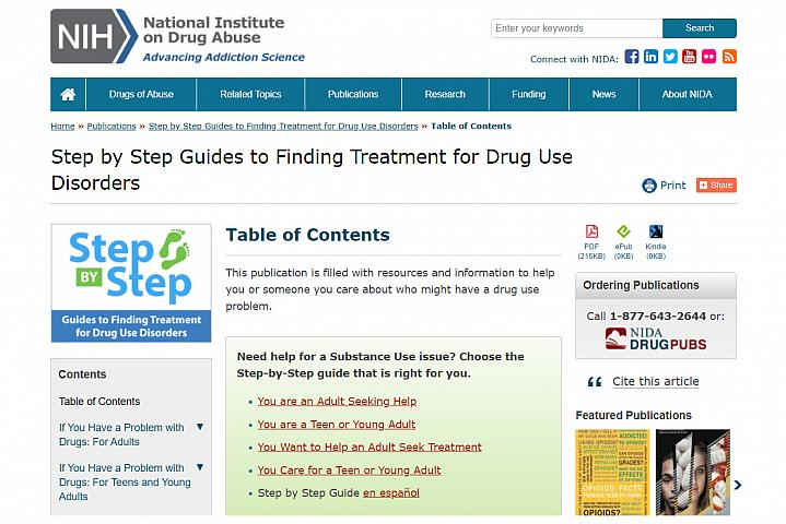 Screenshot of the Guides to Finding Treatment Drug Use Disorders Website