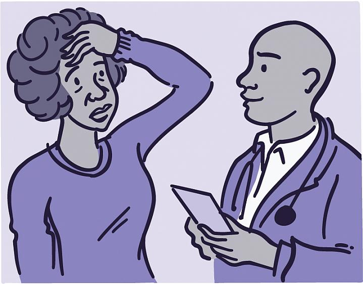 Illustration of a woman talking with her doctor