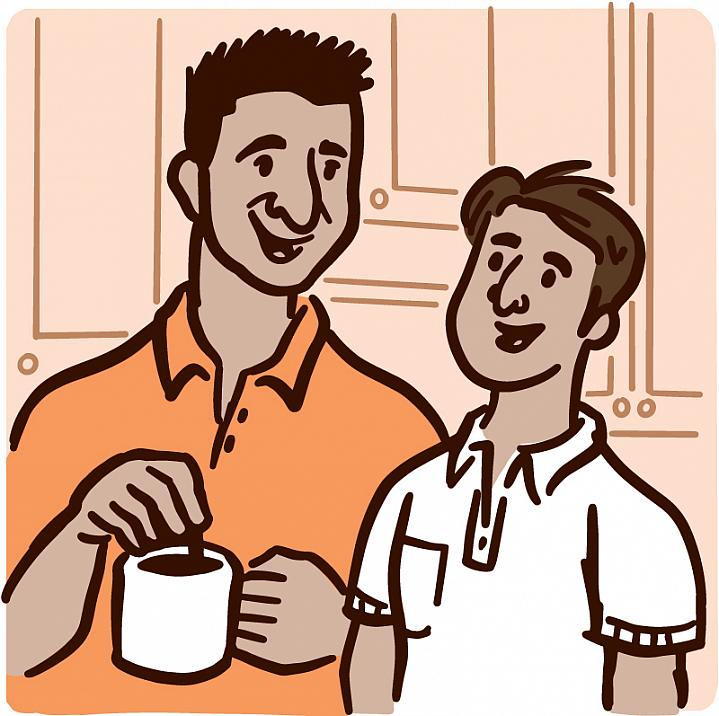 Illustration of a father talking to his teenage son