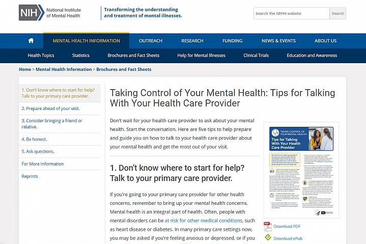 Screenshot of the Taking Control of Your Mental Health website